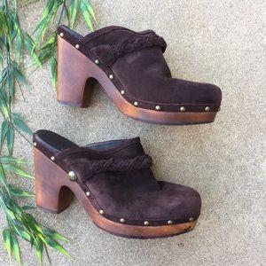 Ugg Suede Braided Detail Wood Heel Clogs